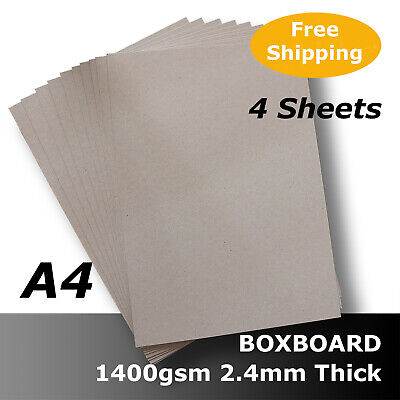 4 x BoxBoard Backing Card ChipBoard 1400gsm 2.4mm A4 100% ReCycled #B1708 #D1