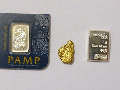 1 Gram Platinum bar .9995 pure and  Natural Solid Thick Gold Nugget + silver bar