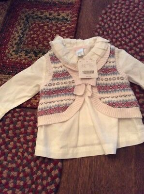 Janie And Jack Nwt Blouse And Vest..6-12 Months