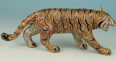 Chinese Lovely Cloisonne Collection Handmade Painting Tiger Figure Statue