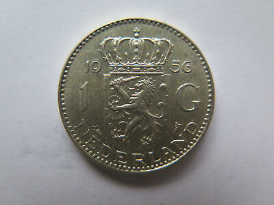 1956 NETHERLANDS HOLLAND 1 GULDEN SILVER COIN in EXCELLENT CONDITION