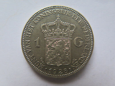 1928 NETHERLANDS HOLLAND 1 GULDEN SILVER COIN in EXCELLENT CONDITION