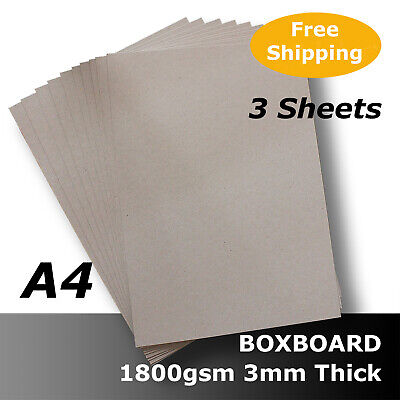 3 x BoxBoard Backing Card ChipBoard 1800gsm 3mm A4 100% ReCycled #B1808 #D1
