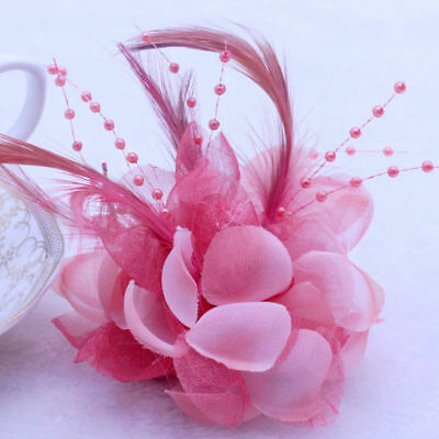 NEW Snow bud Pearl Corsage Hair Clip Flower Fascinator Feather Hairpin Wedding