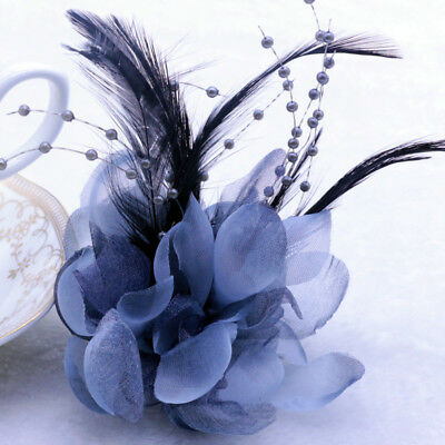 NEW Grey Pearl Corsage Hair Clip Flower Fascinator Feather Hairpin Party Wedding
