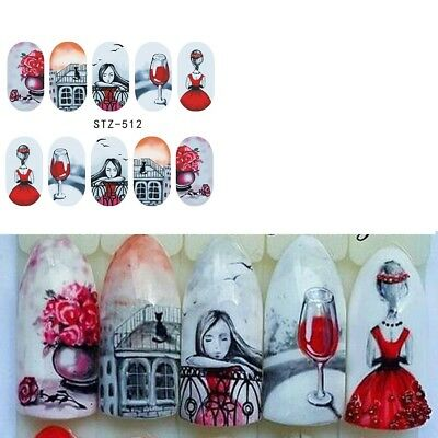 Nail Art Water Decals Stickers Transfers VALENTINES Day Love Roses Cat (STZ512)