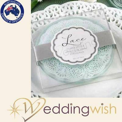 Lace Design Glass Coasters, Wedding Favours, Bomboniere, Gift
