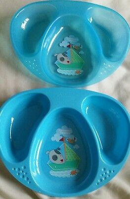 Tommee Tippee x 2 blue Baby  Dishes /Plates. Brand new.