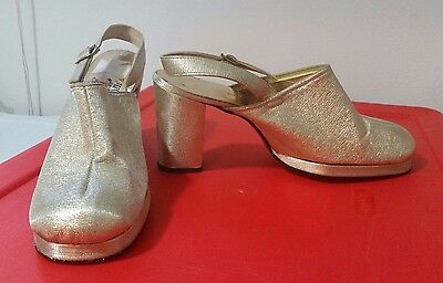 vtg 1960s GOLD ROOM COMBINATION LAST Gold Shoes MOD chunky heel Size 7.5 costume