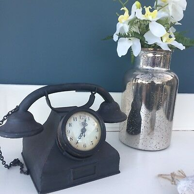 Distressed Shabby Chic Telephone Desk Table Clock Industrial Antique Vintage
