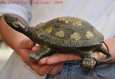 Old Chinese bronze gilt feng shui longevity Wealthy lucky tortoise turtle statue