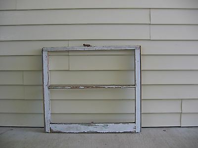 """Vintage 2 Pane White Wood Window 32"""" X 28"""" Glass Has Been Removed"""