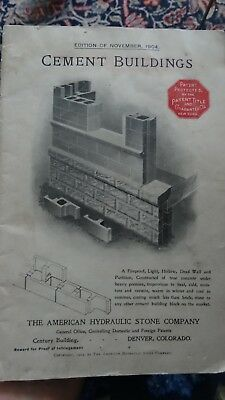 1904 Cement Bricks Care, Build Cylinder Tower, houses, Stables CEMENT BUILDINGS