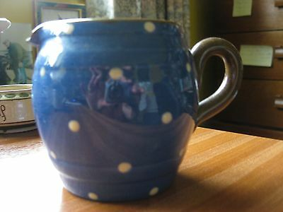 """TORQUAY POTTERY SPOTTY JUG 3"""" TALL small chip to lip hardly noticable"""
