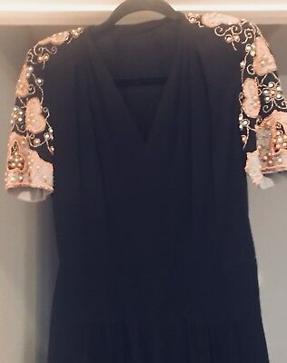 Vintage 1940's  Black Rayon Crepe Dress w/ Beads/Padded Shoulders