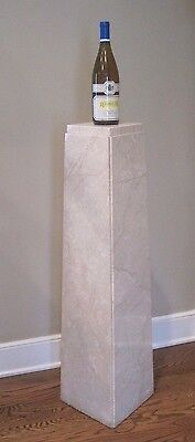 Beautiful Estate Tall Art Deco Cream-Colored Marble Pedestal, Tapered - Unique!