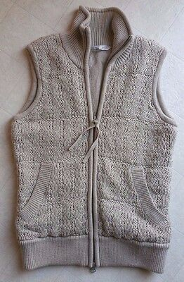 ATHLETA Women's Spring Cable Knit Zip-Up Lined Vest, Oatmeal/Beige, Size XXS GUC