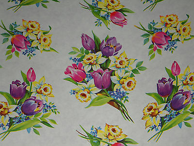 Vtg 1940 Department Store Wrapping Paper 2 Yards Occasion Floral Mother's Day