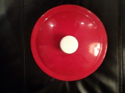 Prizer-Ware Enameled Cast Iron Domed Red & White Cover Lid
