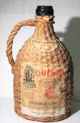 Vintage 1947 Quinta Wine Bottle Lisbon Wicker Wrapped With Handle & Paper Label