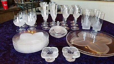 JG Durand Crystal set lot glasses, plates, wine glasses, serving platter