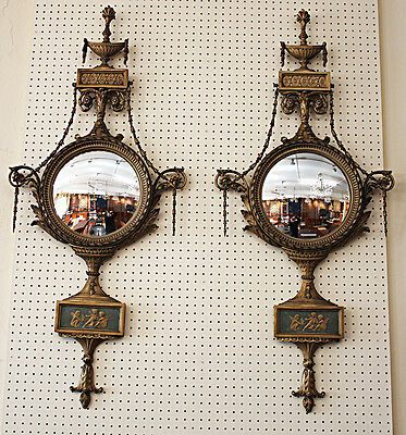 Very Rare Pair Gilded Convex French Carved Wood & Gesso Mirrors 1900s Era