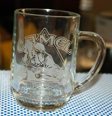 Vintage Etched Glass Joe Camel Pool Player Clear Glass Mug/Cup 16 oz.