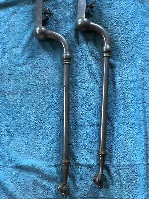 Pair Nickel Brass Sink Legs Support Old Marble Vtg Bath Console 29.5""