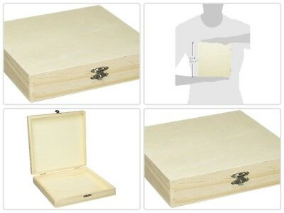 """Wood Cigar Box Unfinished Wooden Boxes Sanded Smooth Pine Cigars Storage 8X8X1"""""""