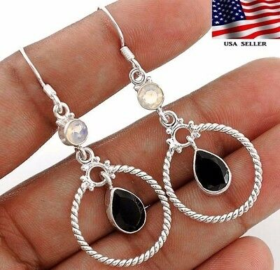 "Faceted Black Tourmaline 925 Solid Sterling Silver Earrings Jewelry 2 1/4"" A8-3"