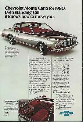 1980 CHEVROLET MONTE CARLO advertisement, T-Bar Roof, Chevy Monte Carlo ad