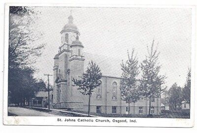 IN Osgood Indiana antique post card St Johns Catholic Church