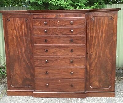 Rare Victorian Mahogany Breakfront Compactum Wardrobe Ideal For Low Ceilings