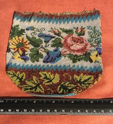 Beaded Purse Early 1800's American Display Piece Only Poor Condition On One Side
