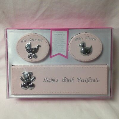 First Impressions 4 Piece Keepsake Set Baby Girl Birth Cert Treasures Tooth Curl