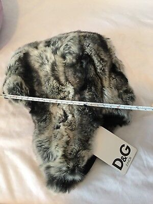 66125fc06bfb4 D G Dolce And Gabbana Junior Trapper Hat 💯 % rabbit fur toddler girl boy   280