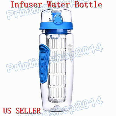 32 Oz Infuser Water Bottle Fruit Infused Sports W/ BPA Tritan Plastic