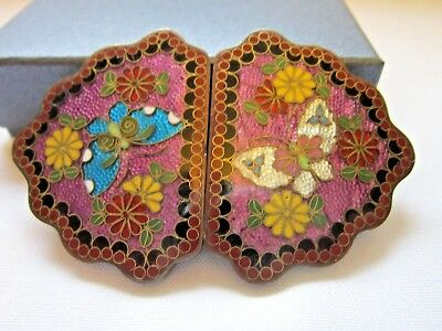 Rare antique Meiji period Japanese cloisonne buckle