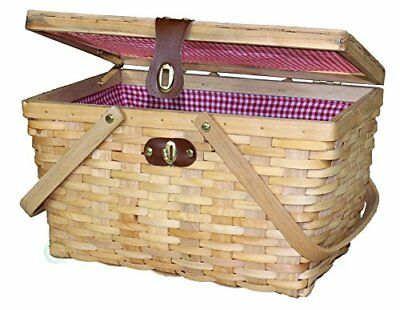 Vintiquewise Gingham Lined Wood Picnic Basket, Lite Brown, Large