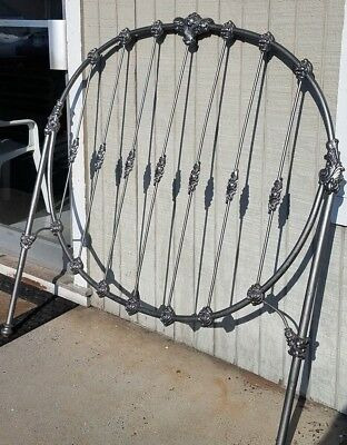 Antique Wrought Iron Double Bed HeadBoard Unusual  ~ROUND Silver!~ WE SHIP!
