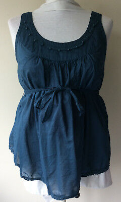 Women's Size XL Old Navy Maternity Cotton Sleeveless Sheer Teal Belted Blouse