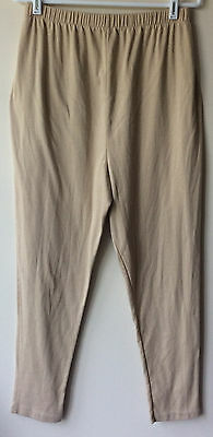 Women Size Large Maternity Beige Elastic Waist Polyester Blend Cropped Leggings