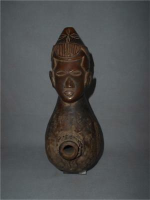 Old Authentic Congo TOP HIGH AGED USED KUBA TRIBE WOOD LARGE PIPE HEAD