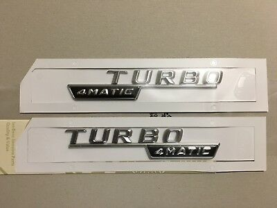 2x Mercedes-Benz  4Matic Turbo Badge Emblem Decals Chrome