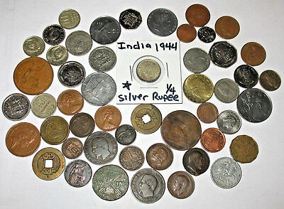 FOREIGN COIN LOT WITH VINTAGE COINS! SOME 1800s! SILVER INDIA! (pp3)