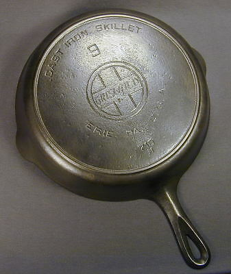 GRISWOLD 710H SLANT LOGO CAST IRON No 9 SKILLET w/ Heat Ring - Ship to N.America