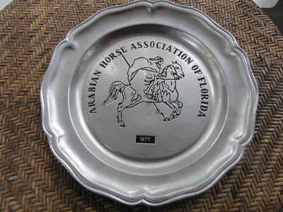 Pewter Presentation Platter Charger ARABIAN HORSE ASSOCIATION OF FLORIDA 1977