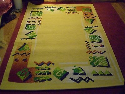 """Area Rug 52X76"""" Colorful Abstract Pale Yellow Green Burnt Orange White Black"""
