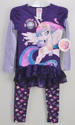 Girls My Little Pony Princess Celestia Tunic Shirt Leggings Outfit Size 4/5 New