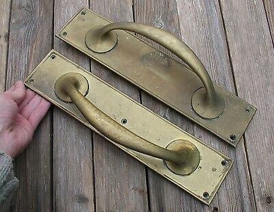 Old Reclaimed Pair of Large Brass Door Pull Handles / Shop / Pub / Bar 13""